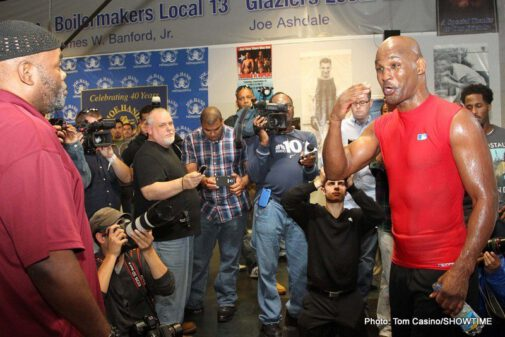 """Bernard Hopkins, Hopkins vs Murat, Karo Murat - PHILADELPHIA (Oct. 17) - IBF Light Heavyweight World Champion Bernard Hopkins debuted his newfound ring persona known as """"The Alien"""" at a media workout yesterday at Joe Hand's Boxing Gym in Philadelphia as he prepares for his Oct. 26 title defense against top rated contender Karo Murat. In true Hopkins fashion, the oldest fighter to win a world title in boxing history showcased his """"out of this world"""" athletic abilities in front of a large amount of media eager to hear what he had to say. The fight will take place at Boardwalk Hall in Atlantic City live on SHOWTIME CHAMPIONSHIP BOXING® at 9 p.m. ET/PT (delayed on the west coast)."""