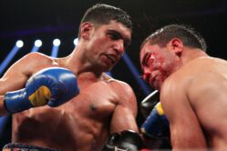 Amir Khan, Khan vs Molina, Virgil Hunter - by Geoffrey Ciani, photos by Tom Casino / Showtime - Amir Khan (27-3, 19 KOs) ended a two fight losing streak when he impressively defeated an overmatched Carlos Molina (17-1-1, 7 KOs) last night in Los Angeles. This marked the first time Khan was paired up with new head trainer Virgil Hunter, who is best known for his long term working relationship with rising pound-for-pound superstar Andre Ward. The new team made a good impression in their first effort together, with Khan in complete control of the action that ultimately came to an end when Molina's corner stopped the contest after the tenth.