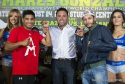 Abner Mares, Jhonny Gonzalez, Mares vs. Gonzalez - CARSON, CALIF. (Aug. 22, 2013) – Oscar De La Hoya's Golden Boy Promotions hosted the final press conference Thursday for the outstanding fight card that will take place this Saturday, Aug. 24, on SHOWTIME CHAMPIONSHIP BOXING live on SHOWTIME® (10 p.m. ET/7 p.m. PT, immediately following the series premiere of ALL ACCESS: Mayweather vs. Canelo) and SHOWTIME EXTREME (8 p.m. ET/PT) from StubHub Center in Carson, Calif.