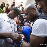 Floyd Mayweather gets gloves on