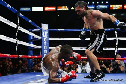 Angulo knocks down Lara