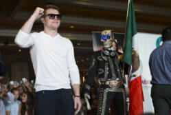 "Floyd Mayweather Jr, Mayweather vs. Canelo, Saul ""Canelo"" Alvarez - (Photo credit: Esther Lin/Showtime) LAS VEGAS, NEV. (Sept. 10, 2013) – Eight-time, five-division World Champion Floyd ""Money"" Mayweather and Super Welterweight World Champion and Mexican Superstar Canelo Alvarez kicked off fight week for ""THE ONE: MAYWEATHER vs. CANELO"" as the two superstars arrived in grand fashion in front of approximately 2,000 screaming fans on Tuesday at the MGM Grand Hotel Lobby."