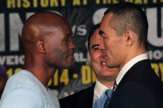 """Hopkins vs. Shumenov - (Photo credit: Tom Casino/Showtime) WASHINGTON D.C. (April 17, 2014) - The fighters, including legendary future Hall of Famer Bernard """"The Alien"""" Hopkins and Beibut Shumenov, who will compete on Saturday's eagerly awaited """"History at the Capitol"""" world championship tripleheader on SHOWTIME®, participated in the final press conference Thursday at The Hamilton Live in Washington, D.C."""