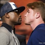 Mayweather and Canelo faceoff