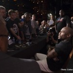 Mayweather with media