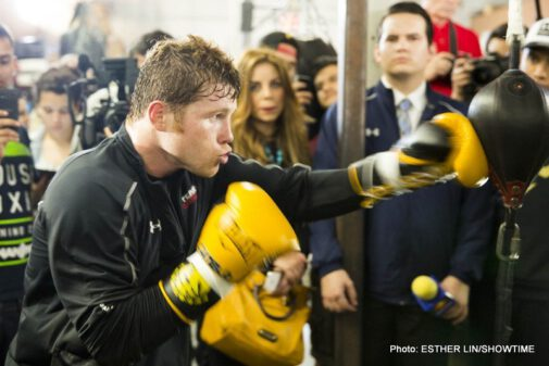 """Alfredo Angulo, Canelo vs. Angulo, Saul """"Canelo"""" Alvarez - (Photo credit: Esther Lin/Showtime) SAN DIEGO -- (Feb. 25, 2014) - Several dozen television camera crews, newspapers and web reporters, photographers, (video) bloggers and fans were on hand to watch popular former WBC, WBA and Ring Magazine Super Welterweight World Champion Canelo Alvarez during his media workout at House of Boxing on Tuesday in San Diego."""