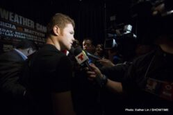 """Floyd Mayweather Jr, Mayweather vs. Canelo, Saul """"Canelo"""" Alvarez - (Photo credit: Esther Lin/Showtime) LAS VEGAS, NEV. (Sept. 11, 2013) – Eight-time, five-division World Champion Floyd """"Money"""" Mayweather and Super Welterweight World Champion and Mexican Superstar Canelo Alvarez were all business during Wednesday's final press conference at KA Theatre at MGM Grand in Las Vegas, just three days before Saturday's historic """"THE ONE: MAYWEATHER vs. CANELO."""""""