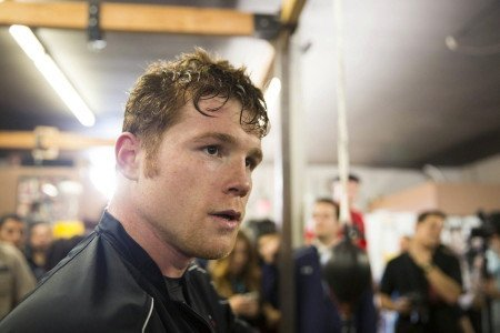 (Photo credit: Esther Lin/Showtime) SAN DIEGO -- (Feb. 25, 2014) - Several dozen television camera crews, newspapers and web reporters, photographers, (video) bloggers and fans were on hand to watch popular former WBC, WBA and Ring Magazine Super Welterweight World Champion Canelo Alvarez during his media workout at House of Boxing on Tuesday in San Diego.