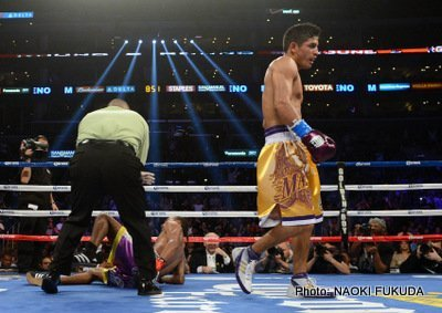 "Mares vs. Moreno - by Paul Strauss: Super bantamweight Abner Mares 25 (KO 13)-0-1 literally ran after southpaw Anselmo ""Chemito"" Moreno 33 (KO 12)-2-1 Saturday night at the Staples Center in Los Angeles, CA .  He was determined to keep, for the most part, Moreno from getting set and displaying his masterful boxing skills.  It's one thing for a boxer to say he's going to pressure his opponent and get him out of his game plan.  It's another to actually carry it out, and to such an extent that one judge thought the fight was a shutout."