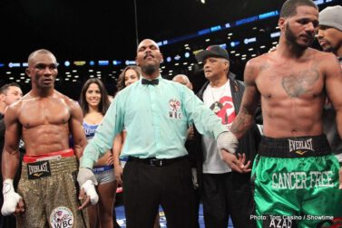 "Judah vs. Malignaggi, Paulie Malignaggi, Zab Judah - (Photo credit: Tom Casino/Showtime) BROOKLYN, N.Y. (December 8, 2013) - Two weeks after his 33rd birthday, Paulie ""The Magic Man"" Malignaggi (33-5, 7 KO's) picks up his 33rd win in a unanimous decision victory over Zab ""Super"" Judah (42-9, 29 KO's) in front of his hometown crowd at Barclays Center in Brooklyn, NY. The fight, promoted by Golden Boy Promotions, headlined a four-fight SHOWTIME CHAMPIONSHIP BOXING event."