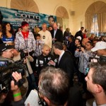 Media and crowd around Cotto