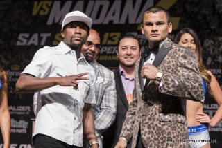 "Floyd Mayweather Jr, Marcos Maidana, Mayweather vs. Maidana 2 - LAS VEGAS (Sept. 10, 2014) – Fight week for ""MAYHEM: Mayweather vs. Maidana 2"" continued Wednesday as the main event fighters, Floyd ""Money"" Mayweather and Marcos ""El Chino"" Maidana, hosted their final press conference at the Hollywood Theatre at MGM Grand before their highly anticipated rematch on SHOWTIME PPV Saturday."