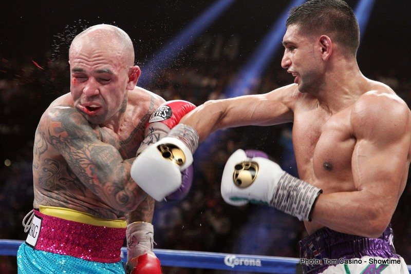 Amir Khan, Khan vs. Collazo, Luis Collazo - British star Amir Khan floored Luis Collazo three times en route to a 12-round unanimous decision 117-106, 119-104, 119-104.