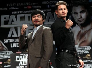"Chris Algieri - Sept. 3, 2014, Los Angeles,California   --- ""DAY 10"" ---  (L-R)   Superstar Manny Pacquiao and New York's undefeated (20-0) WBO Jr. Welterweight champion Chris Algieri pose during a press conference in Los Angeles on  'Day 10'  of their worldwide tour. Pacquiao jokingly got up on a chair to make up for the slight height difference."