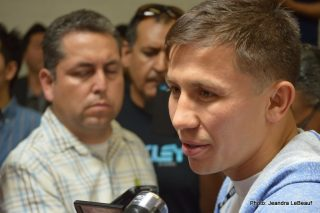 """Gennady Golovkin, Golovkin vs. Geale - Santa Monica, CA (July 16, 2014) In front of a packed house of Southern California media on Wednesday afternoon, boxing's fastest rising star, GENNADY """"GGG"""" GOLOVKIN held his first Los Angeles workout for the press corps, just ten days ahead of his WBA/IBO World Middleweight Championship defense against Two-time world champion DANIEL """"The Real Deal"""" GEALE."""