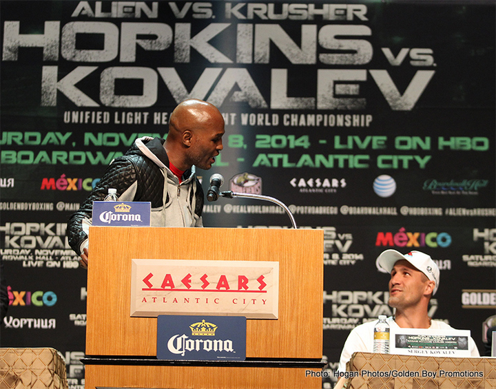 "Bernard Hopkins, Hopkins vs. Kovalev, Sergey Kovalev - Story by: By Robert Uzzell and Chip Mitchell - On Saturday night, WBA Super World light heavyweight and IBF World light heavyweight champion Bernard ""The Alien"" Hopkins (55-6-2, 32 KOs) squares off with WBO World light heavyweight champion Sergey ""Krusher"" Kovalev (25-0-1, 23 KOs). The Old Man versus the Krusher. The Alien vs. The Predator."