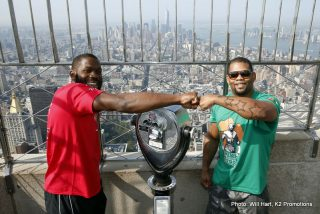 """Jennings vs. Perez - New York City (July 22, 2014) Undefeated heavyweights BRYANT """"By By"""" JENNINGS and MIKE """"The Rebel"""" PEREZ stopped traffic today at they headed to the world-famous Empire State Building for a media photo opportunity on the 86th Floor Observation Deck. With a huge crowd of onlookers and supporters watching their every step, the fighters posed for photos and signed autographs for the well-wishers."""