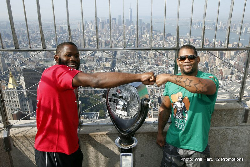"Jennings vs. Perez - New York City (July 22, 2014) Undefeated heavyweights BRYANT ""By By"" JENNINGS and MIKE ""The Rebel"" PEREZ stopped traffic today at they headed to the world-famous Empire State Building for a media photo opportunity on the 86th Floor Observation Deck. With a huge crowd of onlookers and supporters watching their every step, the fighters posed for photos and signed autographs for the well-wishers."