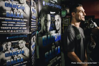 """Danny Garcia, Garcia vs. Salka, Rod Salka - BROOKLYN (Aug. 6, 2014) - Fight week is heating up as Danny """"Swift"""" Garcia, """"Lightning"""" Rod Salka, Lamont Peterson, Edgar """"El Camacho"""" Santana, Daniel """"Miracle Man"""" Jacobs, Jarrod """"Left Jab"""" Fletcher and undercard fighters hosted a media workout at Gleason's Gym in Brooklyn, N.Y., today as they prepare for their bouts this Saturday, Aug. 9 at Barclays Center live on SHOWTIME®."""