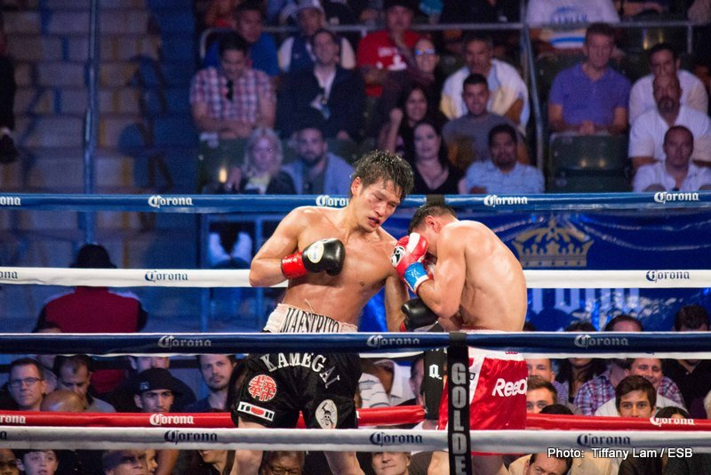 """Guerrero vs. Kamegai, Robert Guerrero, Yoshihiro Kamegai - Robert """"The Ghost"""" Guerrero was understandably happy after his victory over Yoshihiro Kamegai at the StubHub Center in Carson. CA, but it was a tough fight.   He took a lot of unnecessary punishment, and might need another year off to recuperate!"""