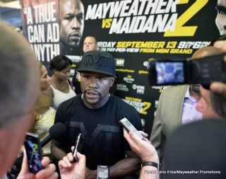 """Floyd Mayweather Jr, Marcos Maidana, Mayweather vs. Maidana 2 - (Photo credit: Idris Erba/Mayweather Promotions) LAS VEGAS (Sept. 3, 2014) - Undefeated 11-Time, five-division world champion and perennial pound-for-pound king Floyd """"Money"""" Mayweather (46-0, 26 KOs)participated in a media workout Tuesday, 11 days before his rematch with exciting Argentine slugger and former welterweight world champion Marcos """"El Chino"""" Maidana (35-4, 31 KOs) in the main event of """"MAYHEM: Mayweather vs. Maidana 2"""" on Saturday, Sept. 13 live on SHOWTIME PPV® (8 p.m. ET/5 p.m. PT) from the MGM Grand Garden Arena."""