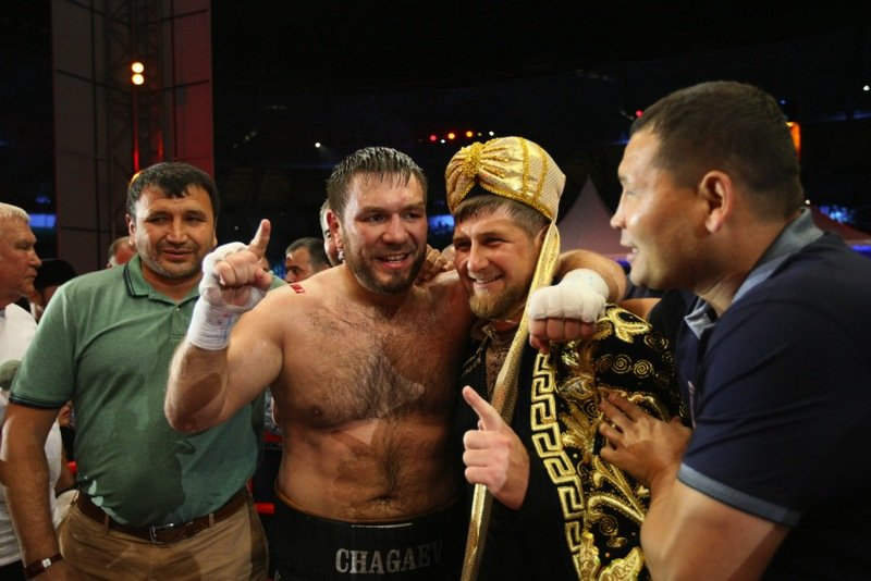 Chechen President Ramzan Kadyrov celebrates new world heavyweight champion Ruslan Chagaev