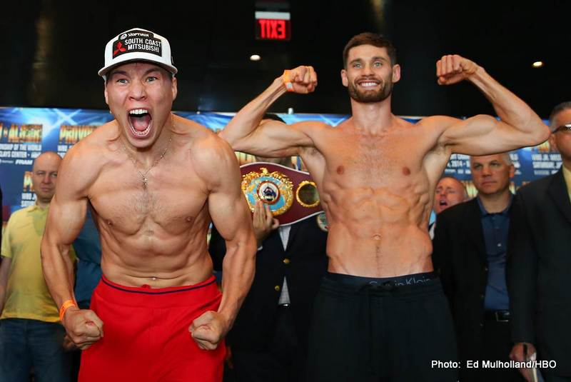 Weights: Ruslan Provodnikov: 139.8 lbs. – Chris Algieri: 140.0 lbs