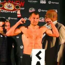 """Cedric Agnew, Karim Mayfield, Sergey Kovalev, Thomas Dulorme - Photo Credits: Rich Graessle/Main Events  -- Today in the lobby at Caesars AC, Sergey """"Krusher"""" Kovalev (23-0-1, 21 KOs) and Cedric """"L.O.W."""" Agnew (26-0-0, 13 KOs) weighed in for tomorrow night's much anticipated match-up for the WBO Light Heavyweight Title at the Ballroom at Boardwalk Hall and live on HBO Boxing After Dark.   Below are the weights and photos:"""