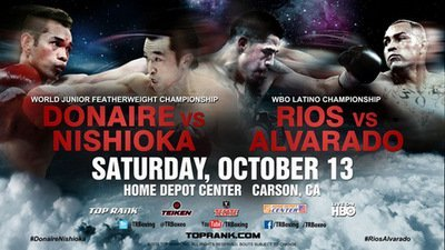 "Brandon Rios, Mike Alvarado, Nonito Donaire, Rios vs. Alvarado, Toshiaki Nishioka - By Mark Klimaszewski - On October 13th, The Home Depot. Centre in Carson, California will see a superb double-header of boxing entertainment. Featuring the 122lb clash between Japanese ""Speed-king""  Toshiaki Nishioka and ""Filipino Flash"" Nonito Donaire; and it's saliva inducing co-feature, the 140lb battle between undefeated ""Mile High"" Mike Alvarado against (also undefeated) former Lightweight World Champion Brandon ""Bam Bam"" Rios."