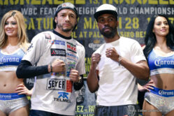 Gary Russell Jr., Jermell Charlo, Jhonny Gonzalez, Vanes Martirosyan - LAS VEGAS (March 26, 2015) – Two days before their important fights live on SHOWTIME® (10 p.m. ET/7 p.m. PT), this Saturday, March 28, hard-hitting WBC Featherweight World Champion Jhonny Gonzalez, 2008 U.S. Olympian and former world title challenger Gary Russell Jr., undefeated super welterweight Jermell Charlo and once-beaten super welterweight Vanes Martirosyan participated in the final press conference at The Pearl Theater at the Palms Casino Resort in Las Vegas.