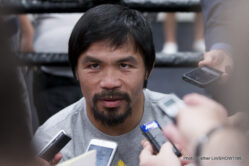 "Floyd Mayweather Jr, Manny Pacquiao, Mayweather vs. Pacquiao - It was Manny Media Mania at Wednesday's media workout for Fighter of the Decade, eight-division world champion and boxing superhero Congressman MANNY ""Pacman"" PACQUIAO.  Pacquiao (57-5-2, 38 KOs), who represents the Sarangani province in the Philippines, hosted a Hollywood Media Workout with his Hall of Fame trainer Freddie Roach and Hall of Promoter Bob Arum."
