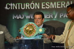 Floyd Mayweather Jr, Manny Pacquiao, Mayweather vs. Pacquiao - A press conference was held today at Foro Mazaryk in Mexico City to unveil the Emerald Belt that will be presented to the winner of the Floyd Mayweather Jr. vs. Manny Pacquiao fight on May 2nd. Over 200 journalists were in attendance.