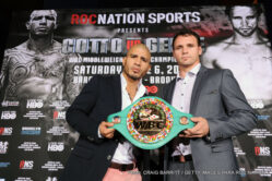 Daniel Geale, Miguel Cotto - Roc Nation Sports and Miguel Cotto Promotions are pleased to announce the next highly anticipated battle for Miguel Cotto (39-4, 32 KO's), the reigning WBC Middleweight and Ring Magazine World Champion and the first native of Puerto Rico to become world champion in four different weight classes. On June 6, 2015, Cotto will defend his titles against former Two-Time World Champion Daniel Geale (31-3, 16 KO's) of Australia in a fight that will be televised live on HBO from Barclays Center in Brooklyn.