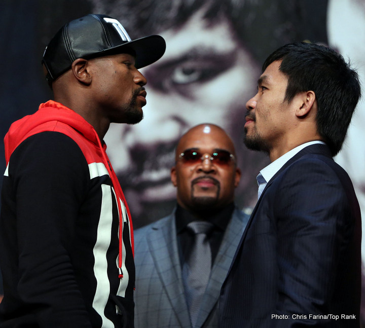 "Floyd Mayweather Jr, Manny Pacquiao, Mayweather vs. Pacquiao - Let me digress a little by arguing that it is somewhat childish for people of sound mind and discretion to claim one boxer was better than another when they competed in divisions that were so disparately distant in terms of their weight, that it preclude them ever being able to fight each other, even if they existed within the same chronological time line. That is equivalent to arguing that Usain Bolt, a sprinter, was a better athlete than Ethiopian Marathoners Abebe Bikila and Degaga (""Mamo"") Wolde, or vice versa. One cannot accurately extrapolate the pugilistic skills and abilities of heavyweight boxers to what they would be if they fought at lightweights, welterweights or middleweights, and vice versa. It is an argument that is as nebulous as one seeking to determine whether John Wayne was faster on the draw than Audie Murphy, simply on the basis of their movie roles. I just had to get that out."