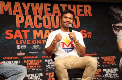 April 28, 2015, Las Vegas,Nevada  ---  Superstar Manny Pacquiao talk with reporters Tuesday about  his upcoming 12-round welterweight world championship unification mega-fight against Floyd Mayweather.      Promoted by Mayweather Promotions and Top Rank Inc. , this pay-per-view telecast will be co-produced and co-distributed by HBO Pay-Per-View® and SHOWTIME PPV® Saturday, May 2 beginning at 9:00 p.m. ET/ 6:00 p.m. PT from the MGM Grand Garden Arena in Las Vegas.     ---   Photo Credit : Chris Farina - Top Rank (no other credit allowed)  copyright 2015