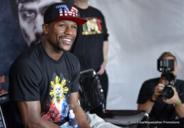 Floyd Mayweather Jr, Manny Pacquiao, Mayweather vs. Pacquiao - More than 200 accredited press members from around the world descended upon Mayweather Boxing Club for Tuesday's Floyd Mayweather Media Day. It was the 11-time world champion Mayweather's first and only open training session before his welterweight world championship unification mega-showdown against Manny Pacquiao on Saturday, May 2, at the MGM Grand Garden Arena in Las Vegas live on pay-per-view.