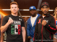 "James Kirkland, Saul ""Canelo"" Alvarez - HOUSTON (May 7) - Canelo Alvarez and James ""Mandingo Warrior"" Kirkland hosted the final press conference in Houston on Thursday, May 7 ahead of their showdown on May 9 at Minute Maid Park and live on HBO World Championship Boxing ®. Golden Boy Promotions Founder and President Oscar De La Hoya, SMS Promotions Chairman and CEO Curtis ""50 Cent"" Jackson, and Future Hall of Famer and Golden Boy Promotions Partner Bernard Hopkins were also in attendance to support their fighters ahead of Saturday's bout. Also in attendance were promoters Mike Battah, President of Leija*Battah Promotions and Jesse James Leija, Texas Boxing Legend and Founder of Leija*Battah Promotions."