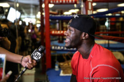 Deontay Wilder, Eric Molina -  BIRMINGHAM, Ala. (June 10, 2015) – Unbeaten Heavyweight World Champion Deontay Wilder, heavyweight challenger Eric Molina, along with co-headliners Puerto Rican junior lightweight Jose Pedraza and Russian amateur standout Andrey Klimov, kicked off fight week working out for the press at Round 1 Gym in Birmingham, Ala. in advance of their SHOWTIME CHAMPIONSHIP BOXING® bouts this Saturday, June 13, live on SHOWTIME (9 p.m. ET/6 p.m. PT) at Bartow Arena in Birmingham, Ala.