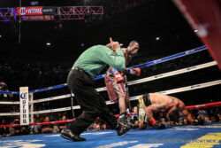 Deontay Wilder, Eric Molina - Hometown hero Wilder, who was born and still resides just 60 miles down the road in Tuscaloosa, dropped Molina, of Lyford, Texas, with a straight right hand 63 seconds in the ninth round, prompting referee Jack Reiss to call the fight off as a result of Molina's fourth and final knockdown of the evening in front of a raucous sold out crowd of 9,347 at Bartow Arena on the campus of University of Alabama Birmingham.