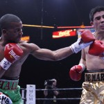 """Sammy Vasquez - (Photo career: Lucas Noonan/Premier Boxing Champions) LAS VEGAS (June 21, 2015) - Rances """"Kid Blast"""" Barthelemy (23-0, 13 KOs) dominated and dropped Antonio DeMarco (31-5-1, 23 KOs) on his way to a wide unanimous 10-round decision on Premier Boxing Champions on CBS Sunday afternoon at the MGM Grand Garden Arena as promoter of the event and President of Mayweather Promotions Floyd """"Money"""" Mayweather watched from the first row."""
