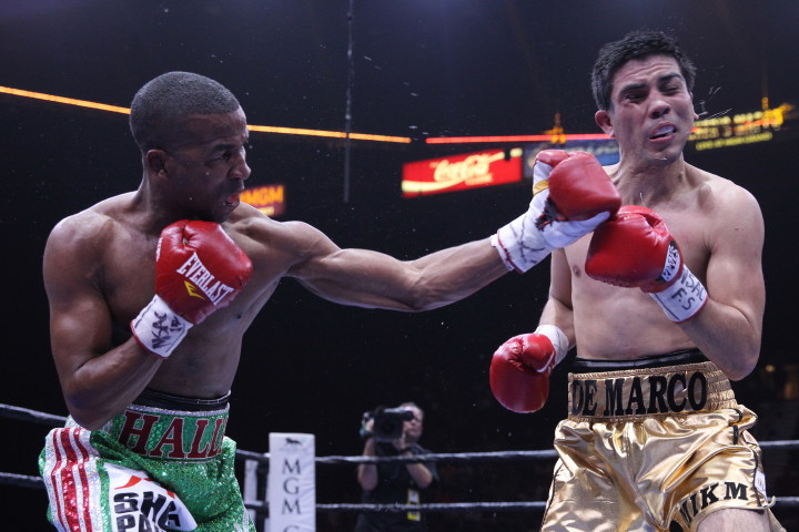 """Antonio DeMarco, Rances Barthelemy, Sammy Vasquez - (Photo career: Lucas Noonan/Premier Boxing Champions) LAS VEGAS (June 21, 2015) - Rances """"Kid Blast"""" Barthelemy (23-0, 13 KOs) dominated and dropped Antonio DeMarco (31-5-1, 23 KOs) on his way to a wide unanimous 10-round decision on Premier Boxing Champions on CBS Sunday afternoon at the MGM Grand Garden Arena as promoter of the event and President of Mayweather Promotions Floyd """"Money"""" Mayweather watched from the first row."""