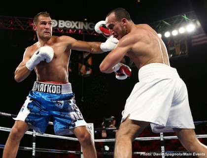 "Kovalev-Mohammedi 7/25/15 Mandalay Bay   Sergey ""Krusher"" Kovalev Chelyabinsk, Russia 27-0-1, 24 KOs Weight: 174.5 Trunks: ÊBlue/White   Nadjib ""IronDjib"" Mohammedi Aix-en-Provence, France 38-3-0, 23 KOs Weight: Ê173 Trunks: White/Red  Photo Credit: David Spagnolo"