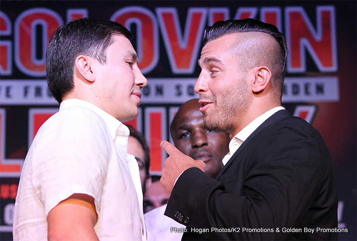 "Golovkin vs. Lemieux - Gennady ""GGG"" Golovkin (33-0, 30 KOs) and IBF Middleweight World Champion power-puncher David Lemieux (34-2, 31 KOs) of Montreal, Quebec hosted the final press conference on their three-city tour in Los Angeles on Thursday, August 20. The fighters received a warm welcome with a huge reception including a large crowd of media members in attendance and fans who eagerly waited outside the venue doors trying to get in or sneak a peak at their boxing heroes."