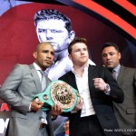 """Saul """"Canelo"""" Alvarez - Closing out a five-day, four-city international press tour which had already made stops in Los Angeles, Mexico City and New York City, WBC, Ring Magazine and Lineal Middleweight World Champion Miguel Cotto (40-4, 33 KOs) and former Two-Time Super Welterweight World Champion Canelo Alvarez (45-1-1, 32 KOs) hosted a press conference on Friday, Aug. 28 in front of a hometown audience in Cotto's native Puerto Rico. Hundreds of media members and thousands of screaming fans filled Coliseo Rubén Rodríguez to see Cotto and Canelo and their teams despite the area being hit by Tropical Storm Erika the night before."""