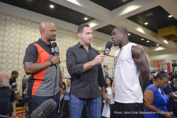 """Andre Berto, George Groves, Jhonny Gonzalez - Two-time welterweight world champion Andre Berto (30-3, 23 KOs) participated in a media workout at the J.W. Marriott at L.A. Live as he prepares for the biggest fight of his career. In front of an enthusiastic crowd, Berto looked focused and in great shape, jumping rope and shadowboxing, as he looks to become the first fighter to defeat 12-time world champion Floyd """"Money"""" Mayweather (48-0, 26 KOs), on Saturday, Sept. 12 at the MGM Grand Garden Arena in Las Vegas live on SHOWTIME PPV® (8 p.m. ET/5 p.m. PT). In addition to Berto, top 168-pound contender George Groves and former three-time world champion Jhonny Gonzalez participated in the media workout as they prepare for their respective fights on the SHOWTIME PPV broadcast."""