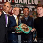 """Saul """"Canelo"""" Alvarez - Reigning WBC, Ring Magazine and Lineal Middleweight World Champion Miguel Cotto (40-4, 33 KOs) and former WBC and WBA Super Welterweight World Champion Canelo Alvarez (45-1-1, 32 KOs) were greeted by hundreds of chanting fans as they hosted a press conference in New York City on Wednesday, August 26 as part of their international four-city press tour ahead of their highly anticipated championship showdown in November."""
