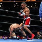 Sergio Mora - (Photo credit: Lucas Noonan/Premier Boxing Champions) The co-featured bout at Barclays Center, Brooklyn, NY wasn't even minutes old before Daniel Jacobs 29-1-0 caught Sergio Mora with a short counter right.  The punch landed on the button as Mora's head was down and to his left.  He had just finished landing a left to Jacob's right side.   It looked like Jacobs was going to have a easy night of it.  Mora beat the count but looked a little shook as the referee Gary Rosato signaled for action to resume.  Jacobs jumped on Mora with hard shots, but in the process he squared up and left himself open.   Mora caught him with a good left hook, and down went Jacobs and up out of their seats came the crowd.  Wow!  What a beginning!