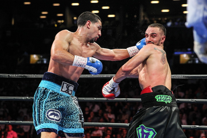 Danny Garcia, Paulie Malignaggi - (Photo credit: Lucas Noonan/Premier Boxing Champions) We may have seen the end of former two division world champion Paulie Malignaggi's career tonight with him getting beaten up and stopped in the 9th round by former WBA/WBC 140lb champion Danny Garcia (31-0, 18 KOs) at the Barclays Center in Brooklyn, New York. The referee prematurely stopped the fight at 2:22 of the 9th round after Garcia stunned Malignaggi.