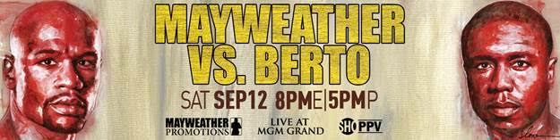 """Andre Berto, Floyd Mayweather Jr, Mayweather vs. Berto - LAS VEGAS (Aug. 4, 2015) – In what is expected to be the final fight of his illustrious 19-year career, boxing superstar and pound-for-pound king Floyd """"Money"""" Mayweather (48-0, 26 KOs) will put his undefeated record and WBC and WBA Welterweight World Championships on the line against power-punching, two-time welterweight world champion Andre Berto (30-3, 23 KOs) Saturday, Sept. 12 at the MGM Grand Garden Arena in Las Vegas, live on SHOWTIME PPV (8 p.m. ET/5 p.m. PT)."""