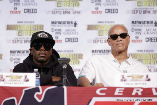 "Andre Berto, Floyd Mayweather Jr, Mayweather vs. Berto - (Photo credit: Esther Lin/Showtime) LAS VEGAS (Sept. 9, 2015) – Floyd Mayweather and Andre Berto participated in the final press conference for ""HIGH STAKES: Mayweather vs. Berto"" on Wednesday at the David Copperfield Theatre at the MGM Grand ahead of their major showdown taking place this Saturday, Sept. 12 live on SHOWTIME PPV (8 p.m. E/5 p.m. PT) from the MGM Grand Garden Arena."